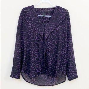 Ann Taylor Leopard Print Purple Blouse Medium